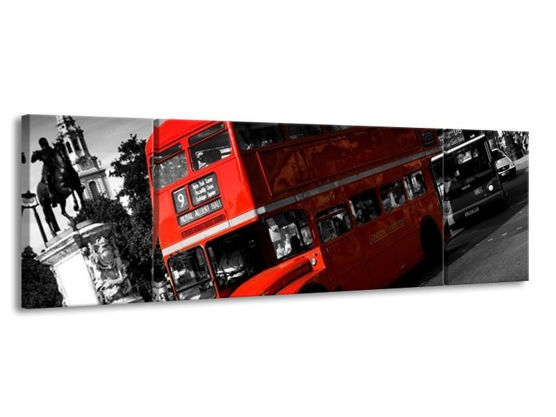 Glas schilderij Londen   Rood, Zwart, Grijs   170x50cm 3Luik