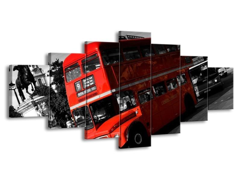 Glas schilderij Londen   Rood, Zwart, Grijs   210x100cm 7Luik