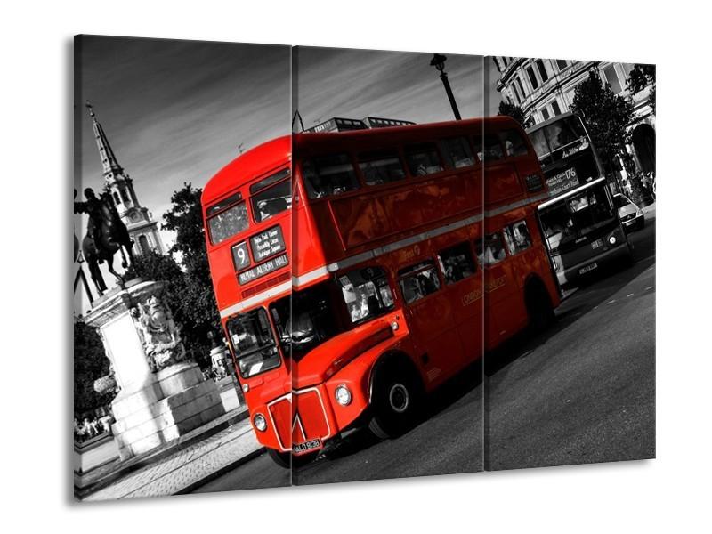 Canvas schilderij Londen | Rood, Zwart, Grijs | 90x60cm 3Luik