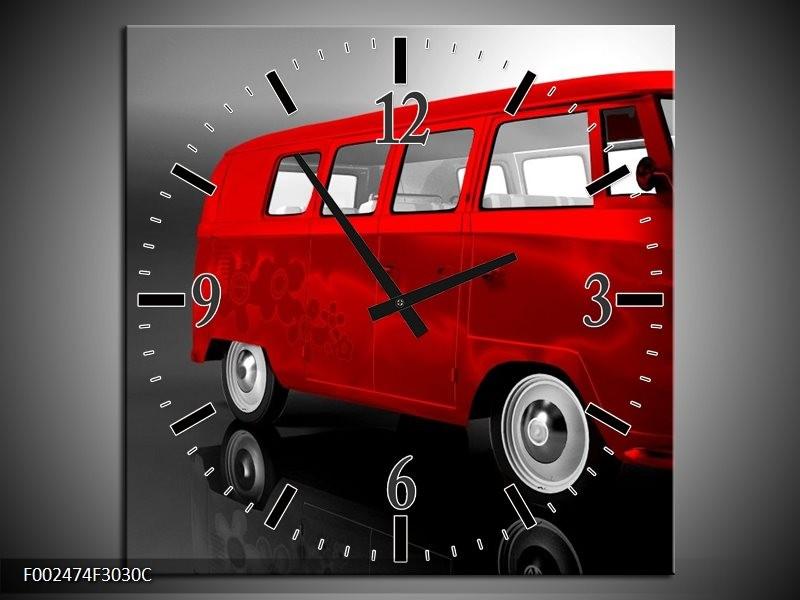 Klok schilderij Auto | Rood, Zwart, Grijs | 30x30cm 1Luik