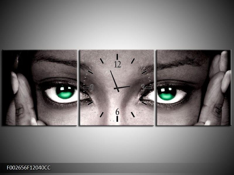 Klok schilderij Ogen | Groen, Zwart, Grijs | 120x40cm 3Luik