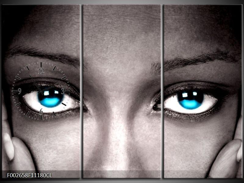 Klok schilderij Ogen | Grijs, Zwart, Blauw | 111x80cm 3Luik