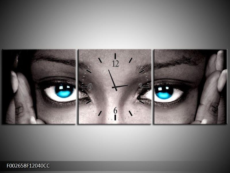 Klok schilderij Ogen | Grijs, Zwart, Blauw | 120x40cm 3Luik