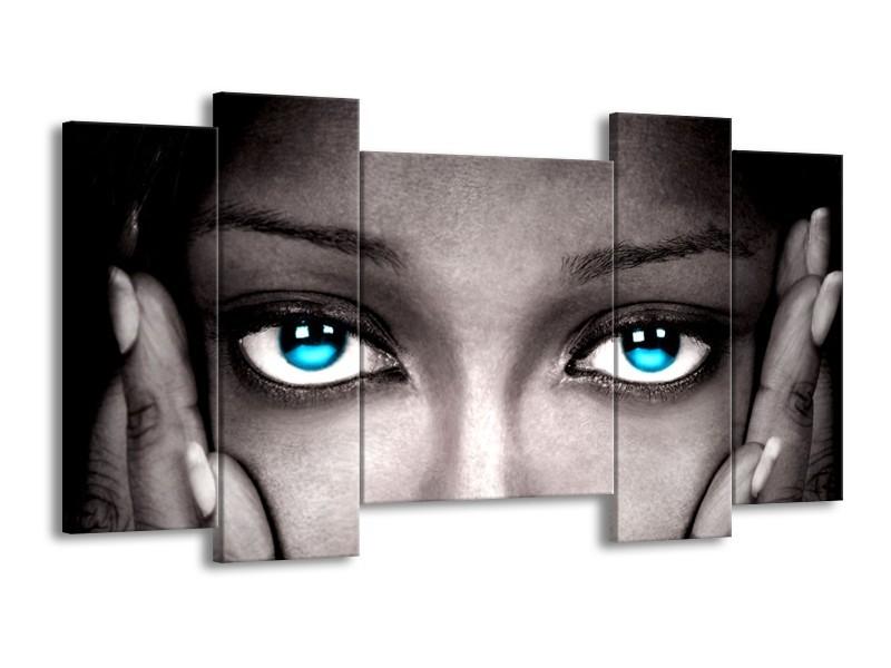 Glas schilderij Ogen   Grijs, Zwart, Blauw   120x65cm 5Luik