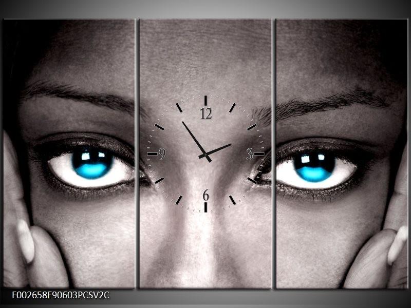 Klok schilderij Ogen | Grijs, Zwart, Blauw | 90x60cm 3Luik