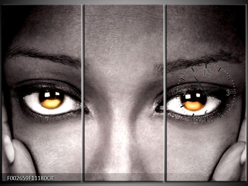 Klok schilderij Ogen | Zwart, Oranje | 111x80cm 3Luik