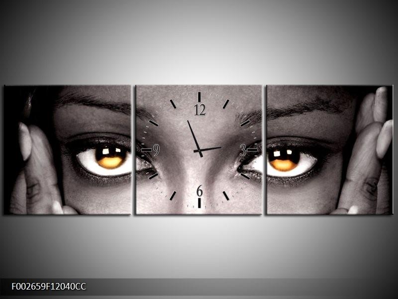 Klok schilderij Ogen | Zwart, Oranje | 120x40cm 3Luik