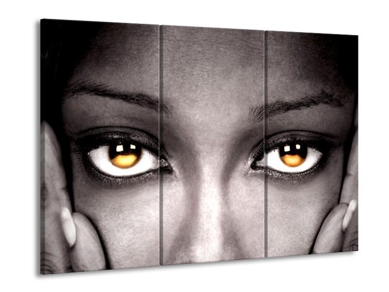 Canvas schilderij Ogen   Zwart, Oranje   90x60cm 3Luik