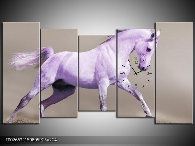 Klok schilderij Paard | Paars, Grijs | 150x80cm 5Luik