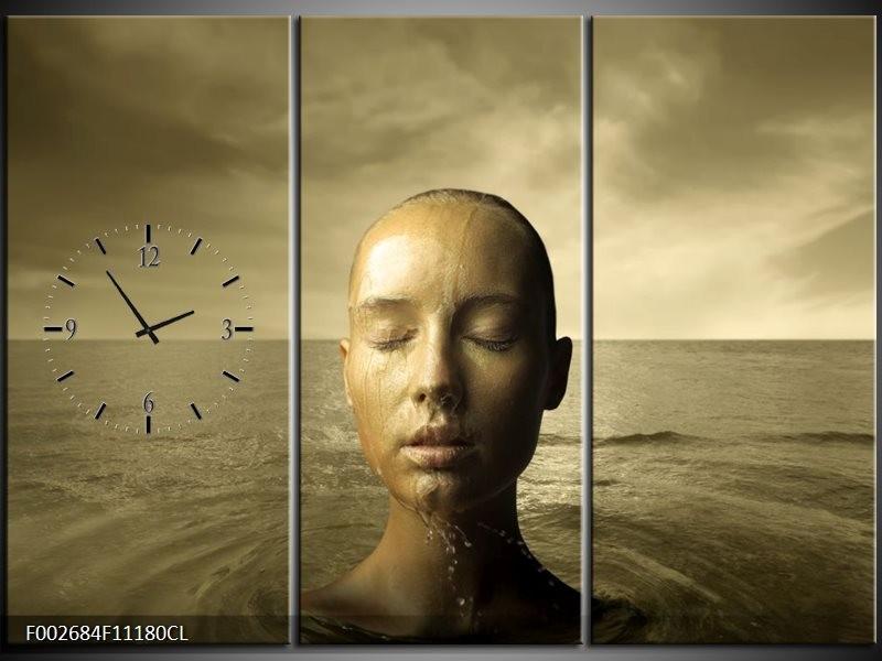 Klok schilderij Gezicht | Grijs, Wit, Bruin | 111x80cm 3Luik