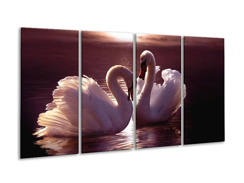 Canvas schilderij Vogels   Wit, Bruin, Zwart   160x80cm 4Luik