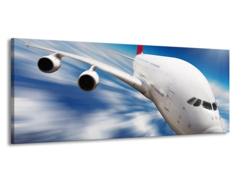 Canvas schilderij Vliegtuig | Wit, Blauw, Rood | 145x58cm 1Luik