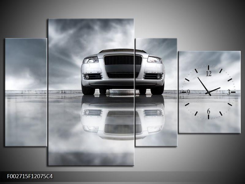 Klok schilderij Audi   Wit, Grijs, Zwart   120x75cm 4Luik