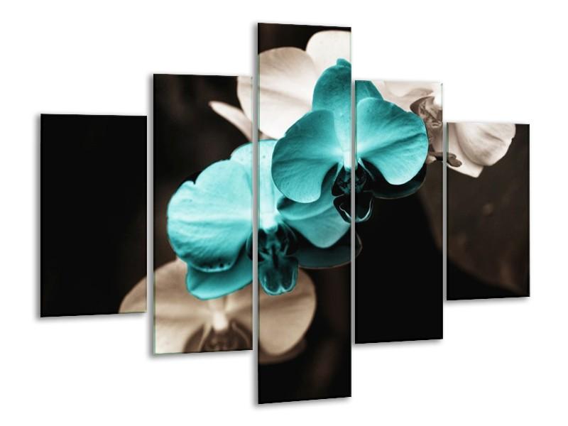 Canvas schilderij Orchidee | Blauw, Zwart, Grijs | 100x70cm 5Luik