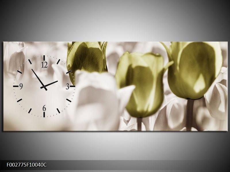 Klok schilderij Tulpen   Bruin, Groen, Wit   100x40cm 1Luik