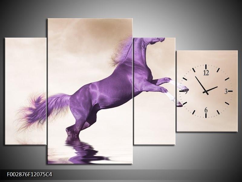 Klok schilderij Paard   Paars, Sepia   120x75cm 4Luik