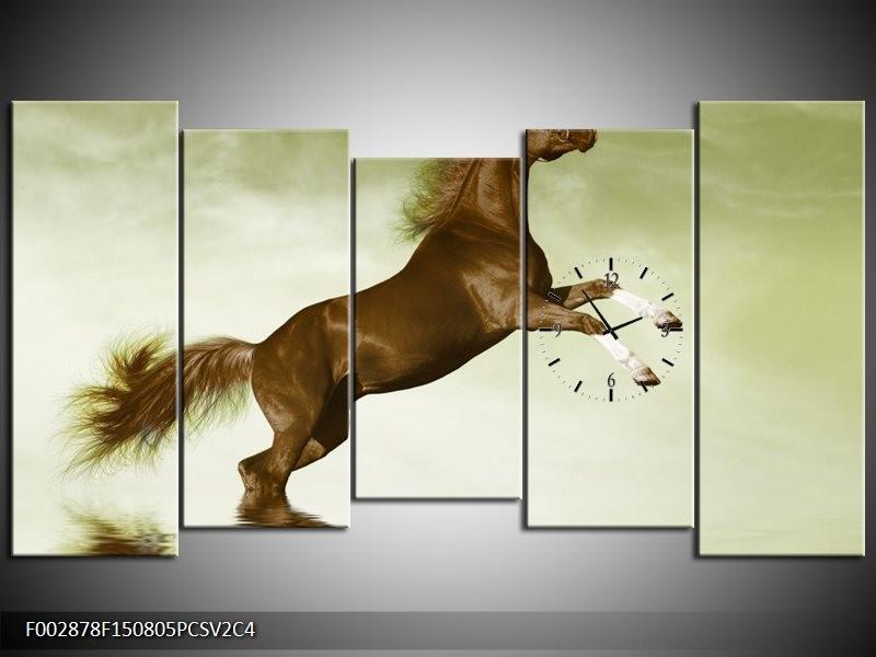 Klok schilderij Paard | Groen, Bruin | 150x80cm 5Luik