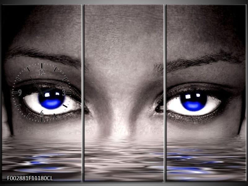 Klok schilderij Ogen | Blauw, Grijs, Zwart | 111x80cm 3Luik