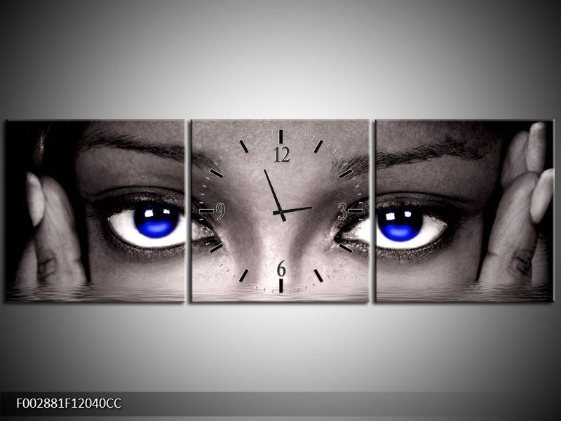 Klok schilderij Ogen | Blauw, Grijs, Zwart | 120x40cm 3Luik