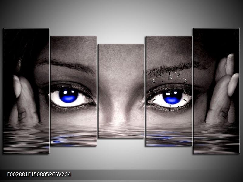 Klok schilderij Ogen | Blauw, Grijs, Zwart | 150x80cm 5Luik