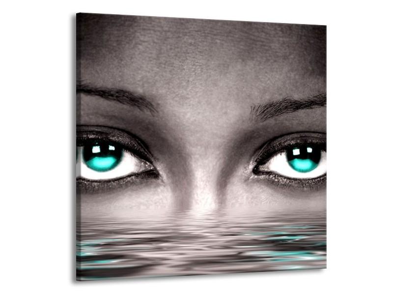 Glas schilderij Ogen   Blauw, Grijs, Zwart   50x50cm 1Luik