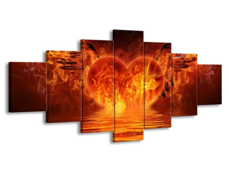 Glas schilderij Hart   Oranje, Bruin, Geel   210x100cm 7Luik