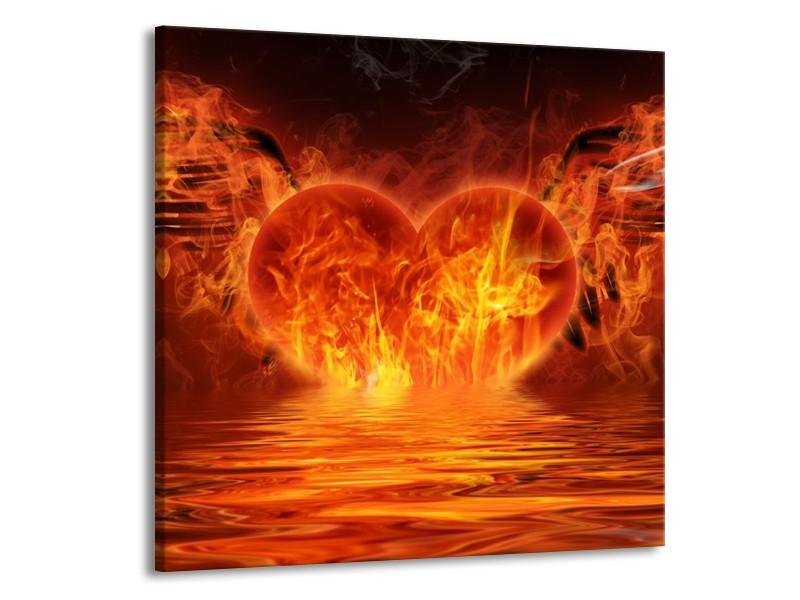 Glas schilderij Hart   Oranje, Bruin, Geel   70x70cm 1Luik