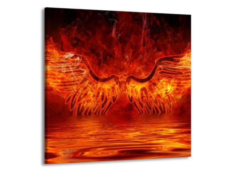 Glas schilderij Engel   Oranje, Bruin, Zwart   70x70cm 1Luik