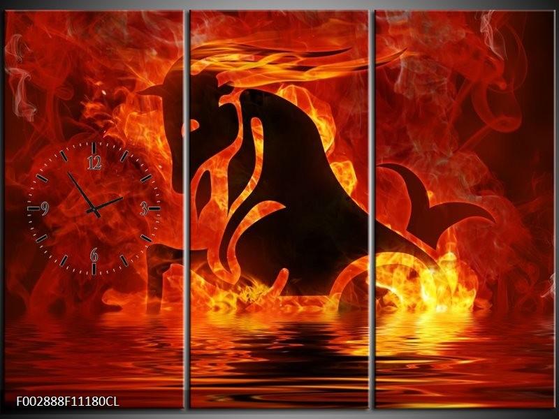 Klok schilderij Abstract   Oranje, Bruin, Zwart   111x80cm 3Luik