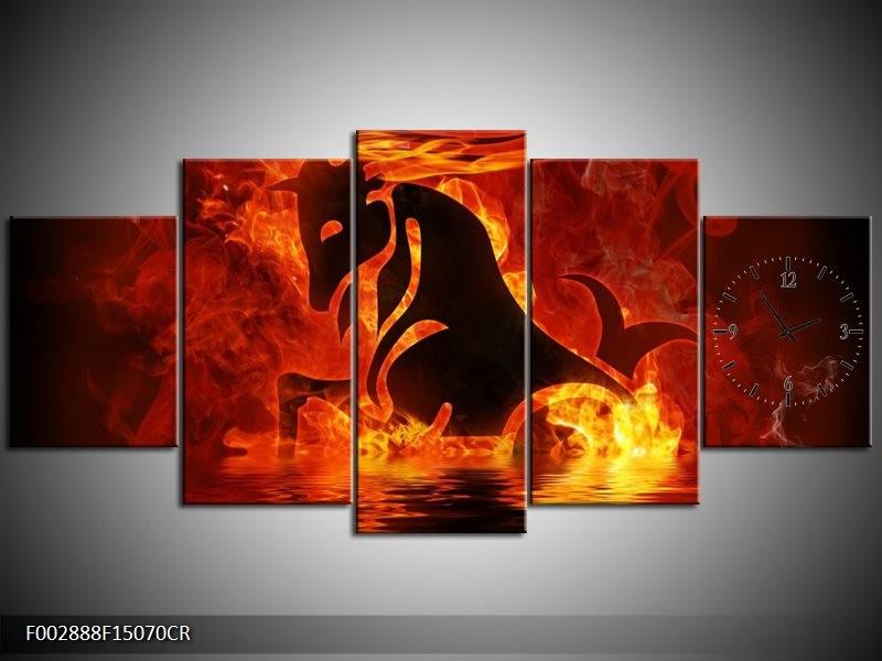 Klok schilderij Abstract   Oranje, Bruin, Zwart   150x70cm 5Luik
