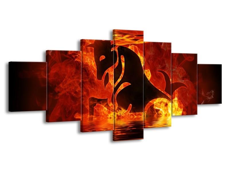 Glas schilderij Abstract   Oranje, Bruin, Zwart   210x100cm 7Luik
