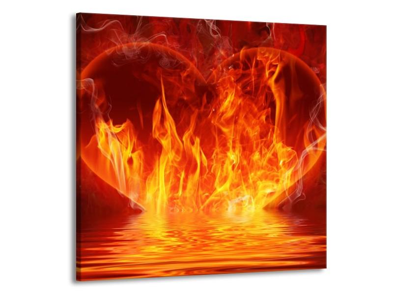 Glas schilderij Abstract   Oranje, Bruin, Zwart   70x70cm 1Luik