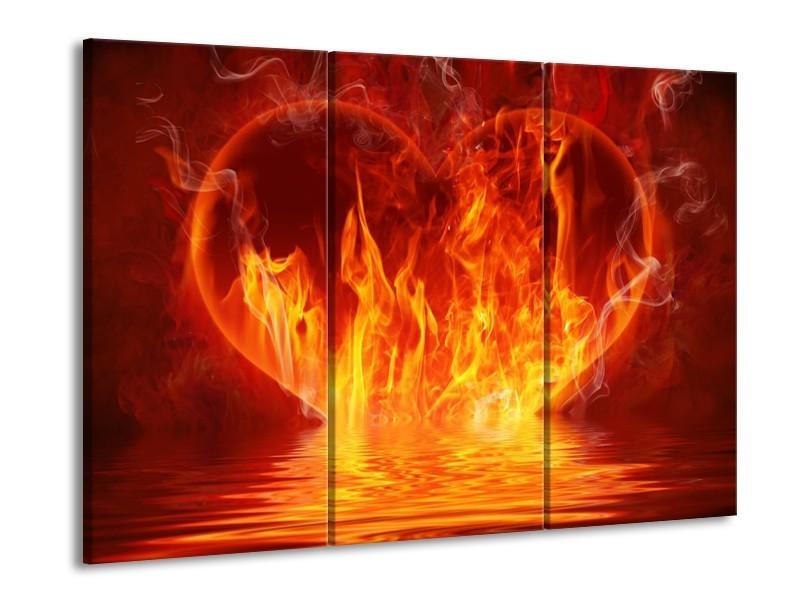 Canvas schilderij Abstract | Oranje, Bruin, Zwart | 90x60cm 3Luik