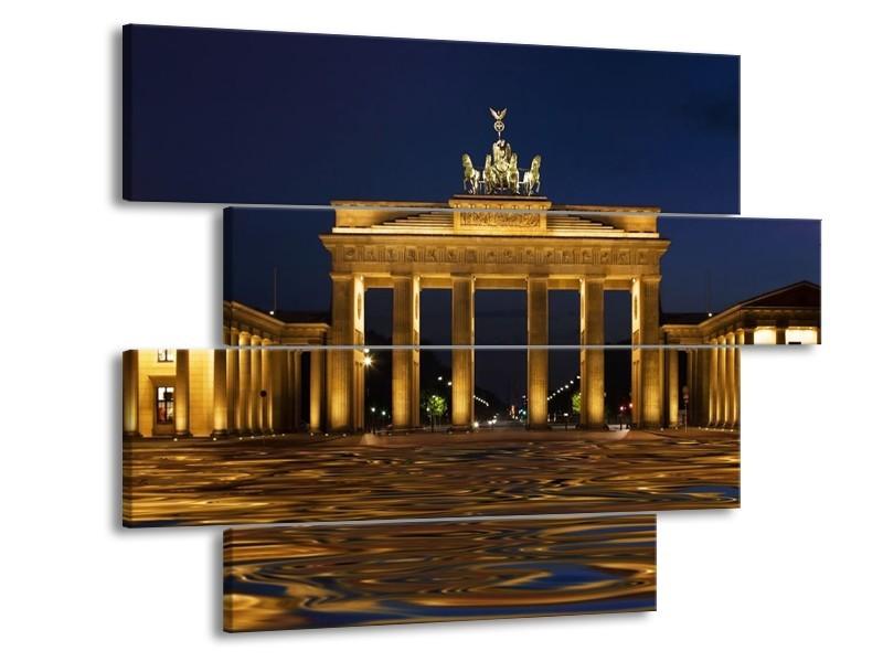 Glas schilderij Berlijn | Geel, Bruin, Zwart | 115x85cm 4Luik