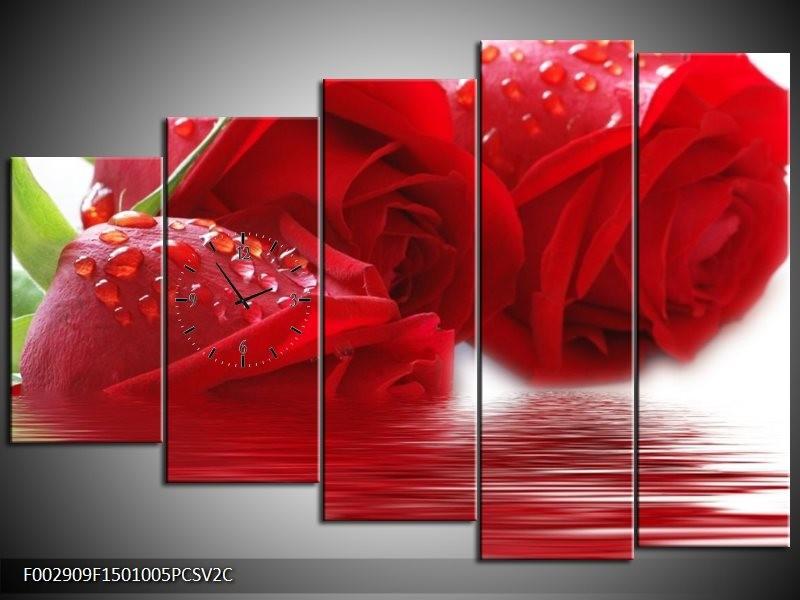 Klok schilderij Roos   Rood, Grijs, Wit   150x100cm 5Luik
