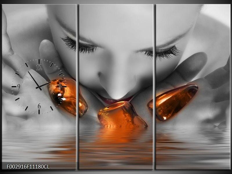 Klok schilderij Gezicht | Oranje, Grijs | 111x80cm 3Luik