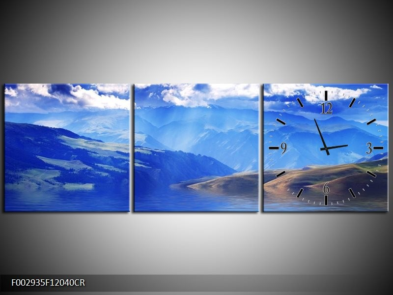 Klok schilderij Bergen | Blauw, Wit, Grijs | 120x40cm 3Luik
