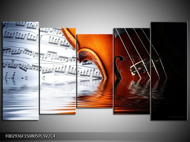 Klok schilderij Instrument | Wit, Bruin, Zwart | 150x80cm 5Luik