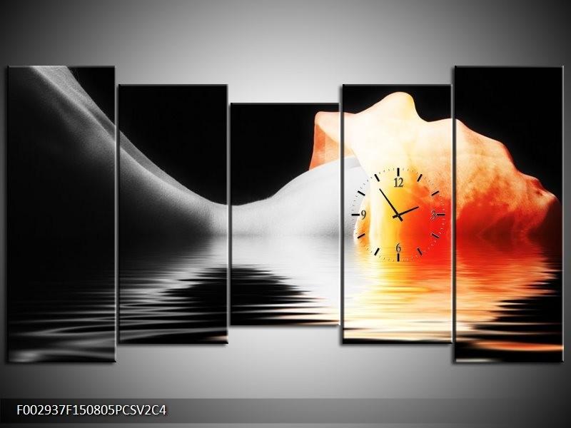 Klok schilderij Lichaam | Oranje, Wit, Zwart | 150x80cm 5Luik
