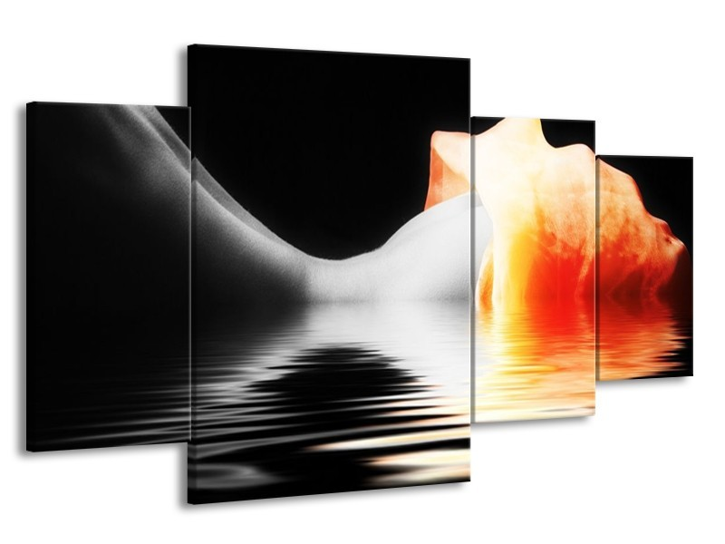 Canvas schilderij Lichaam | Oranje, Wit, Zwart | 160x90cm 4Luik