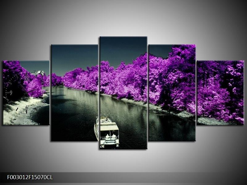 Klok schilderij Boot   Paars, Zwart, Grijs   150x70cm 5Luik