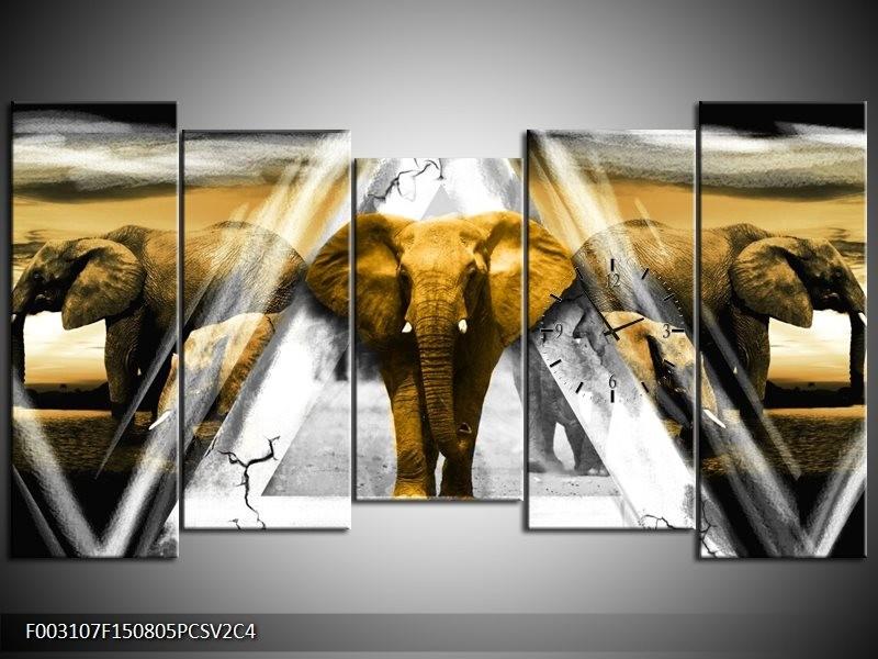 Klok schilderij Olifant | Geel, Wit, Grijs | 150x80cm 5Luik