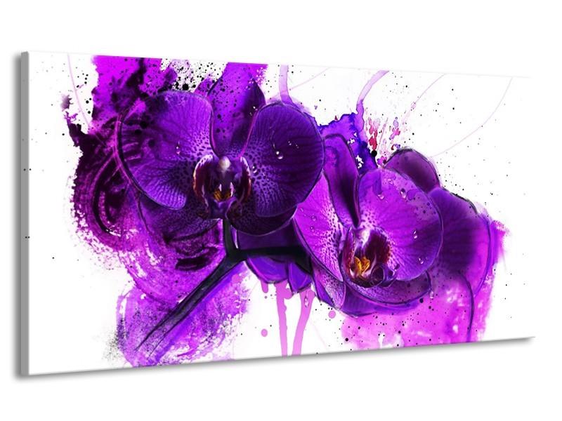 Canvas schilderij Orchidee | Paars, Wit, Zwart | 170x90cm 1Luik