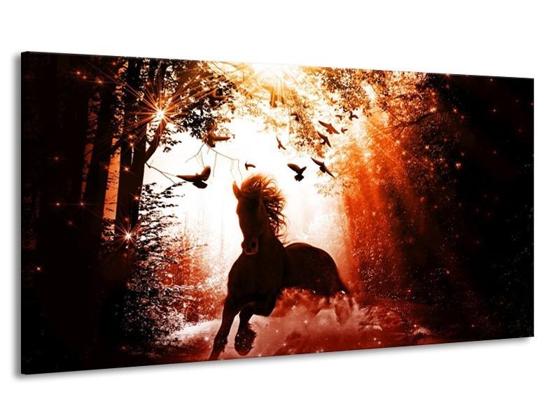 Canvas schilderij Paard | Rood, Zwart, Wit | 170x90cm 1Luik