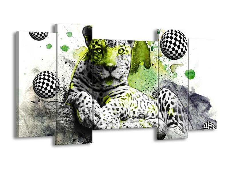 Glas schilderij Natuur | Groen, Zwart, Wit | 120x65cm 5Luik
