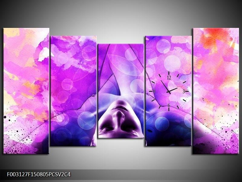 Klok schilderij Lichaam | Paars, Wit | 150x80cm 5Luik