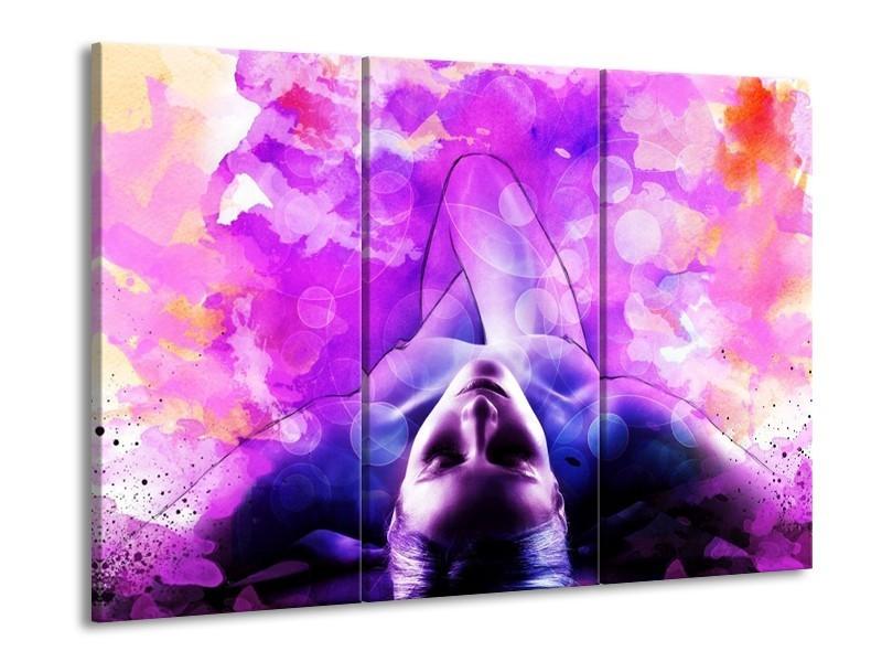 Glas schilderij Lichaam | Paars, Wit | 90x60cm 3Luik
