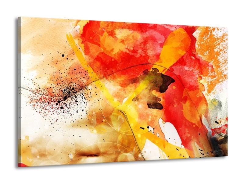 Glas schilderij Abstract | Rood, Geel, Wit | 140x90cm 1Luik