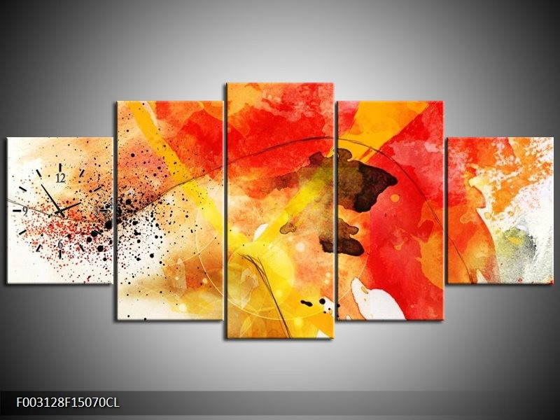 Klok schilderij Abstract | Rood, Geel, Wit | 150x70cm 5Luik