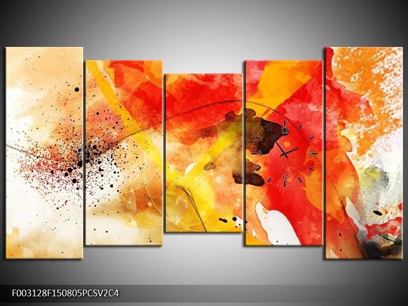 Klok schilderij Abstract | Rood, Geel, Wit | 150x80cm 5Luik